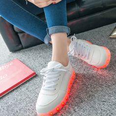 4e02e61f8eff9 LED Light USB Charging Lace Up Luminous Unisex Sneaker. Light Up ShoesLit  ...