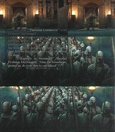 Piertotum Locomotor - Professor McGonagall calls Hogwarts' protectors into action in the final battle. (Harry Potter)