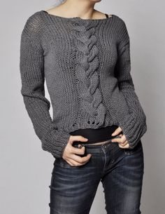 Hand knitted sweater - Charcoal sweater cable pattern cotton sweater Suéter  De Algodón 86af19e3fe7c