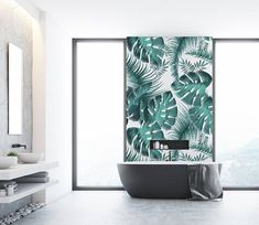 Gorgeous bathroom wallpaper. Wish I had a bathroom like this! Pastel Effect Palm Leaves Wallpaper, Various Colours Available, Wallpaper for Home Decor, DIY Wallpaper, Peel & Stick or Traditional #wallpaper #bath #bathroomideas #bathroom #ad