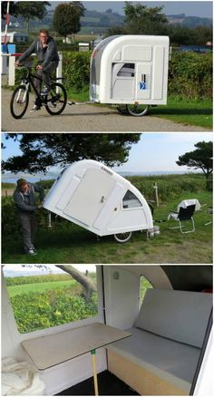 "The Danish entrepreneur Mads Johansen has created ""The Wide Path Camper,"" an astoundingly light camper mounted on a bicycle trailer. The camper is made of Camping Glamping, Camping Gear, Camping Hacks, Backpacking Meals, Ultralight Backpacking, Tiny Camper, Cool Campers, Bike Trailer, Camper Trailers"