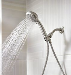 MOEN Banbury 4 in. Single Wall Mount Handheld Adjustable Shower Head in Spot Resist Brushed Nickel - The Home Depot Shower Head Extension, Adjustable Shower Head, Metal Hose, Yellow Bathrooms, Shower Hose, Infrared Sauna, Steam Showers Bathroom, Hand Held Shower, Shower Heads