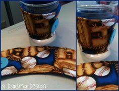 """Baseball coffee cozies. 2 available  For Sale $4.50 each http://sewingthelostart.blogspot.com/2012/07/more-cozies.html    please do not remove """"a darling design """" or repost as your own"""
