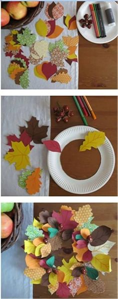 Autumn crafts for children. Autumn wreath - scrapbook paper - # for . - Fall Crafts For Kids Autumn Crafts, Fall Crafts For Kids, Thanksgiving Crafts, Toddler Crafts, Preschool Crafts, Projects For Kids, Diy For Kids, Holiday Crafts, Diy And Crafts