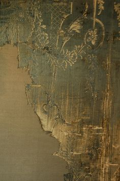 """ distressed silk wall panels at Warwick Castle. """