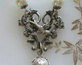 Celtic Knot Necklace, Emerald Rhinestone Necklace, Antique Necklace, Necklace Set, Wedding Jewelry, Holiday Necklace, Irish Jewelry.  via Etsy.