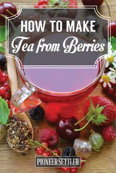 How to Make Tea with Berries - Simple, Healthy And Delicious Homemade Drinks. Off The Grid, Fat Burning Tea, Homemade Tea, Tea Benefits, Tumeric Benefits, Health Benefits, Fruit Tea, Liqueur, Tea Blends