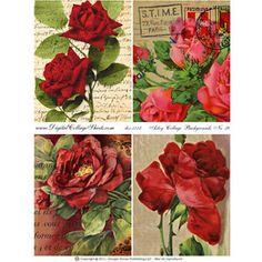 Artsy Collage Backgrounds #38 - Vintage Rose Backgrounds