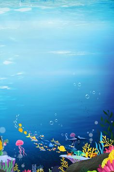 Fish Background, Underwater Background, White Background Images, Underwater Cartoon, Ocean Underwater, World Peace Day, Whale Illustration, Ocean Backgrounds, Ocean Day