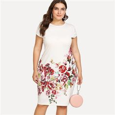 5e3fac4f268 Floral Print Pencil Dress Summer Round Neck Short Cap Sleeve Dress Women  White Plus Size Elegant Dress