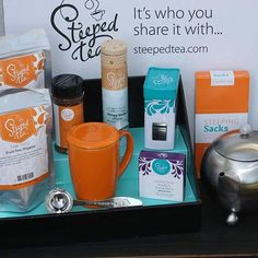 Our Black Displays with Teal Insert looks great with Steeped  Tea products!
