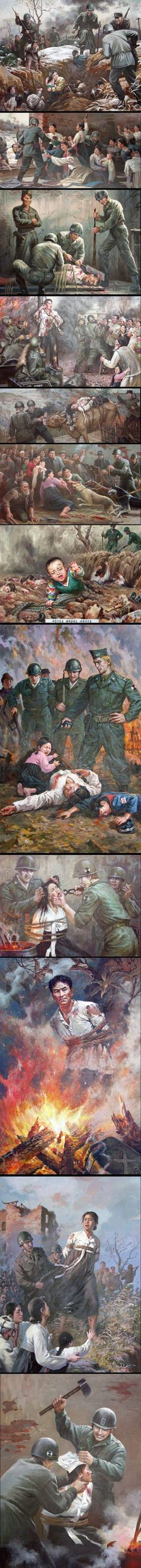 """Picture: North Korean propaganda """"art"""" and how it pictures Americans"""