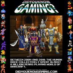 For 8 years the Human race spent 6 Millions years playing World of Warcraft