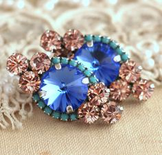Blush Pink Turquoise Sapphire Crystal Stud earrings by iloniti