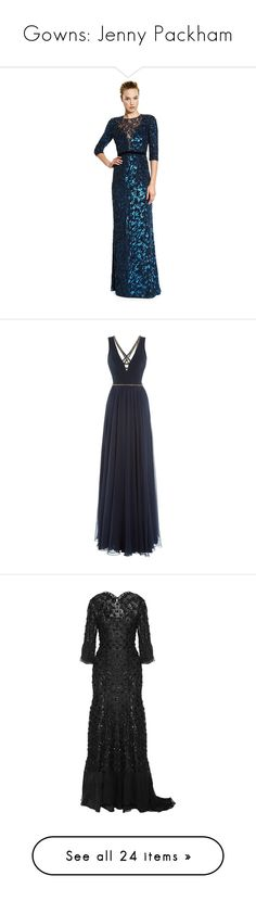 """Gowns: Jenny Packham"" by todaylifestyle ❤ liked on Polyvore featuring dresses, gowns, sequin gown, blue floral dress, blue sequin dress, blue dress, blue ball gown, long dresses, blue and long navy dress"