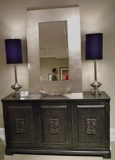 @DecorArtsNow <3's the slate gray finish on this chest + hardware. Looks fab with the navy lamp shades