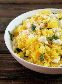 Not Quite a Vegan...?: Yellow Rice with Turmeric, Citrus, and Feta Cheese