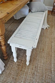 DIY shutter bench... so easy to make & works great for by a dining room table!