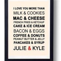 Kitchen Art, Kitchen decor, Anniversary gift for Husband, wife- I Love You More than Art