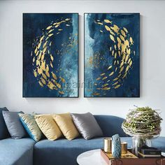 Extra large blue abstract painting, modern acrylic art, original abstract art, texture painting Abstract Canvas Wall Art, Acrylic Painting Canvas, Wall Canvas, Painting Abstract, Abstract Portrait, Blue Abstract, Blue Canvas Art, 3 Piece Canvas Art, Gold Acrylic Paint