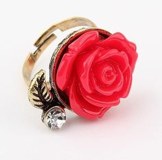 Sweet Rose Embellished Ring Red YW13022567.http://www.clothing-dropship.com