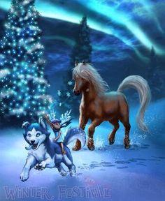 Dane, Thora, Frosty, Tinsel, and Chocolate Most Beautiful Horses, Beautiful Fantasy Art, Unicorn Fantasy, Fantasy Girl, Pegasus, Fantasy Creatures, Mythical Creatures, Anime Animals, Cute Animals