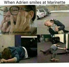 Como cuando Adrien sonrie a Marinette ❤