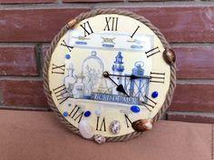 """Купить Часы """"Морские"""",часы в морском стиле - комбинированный, часы настенные, часы интерьерные"""