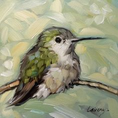 Hummingbird painting, original impressionistic oil painting of a Hummingbird on a branch. Watercolor Bird, Watercolor Paintings, Watercolor Portraits, Watercolor Landscape, Abstract Paintings, Hummingbird Painting, Guache, Animal Paintings, Bird Paintings