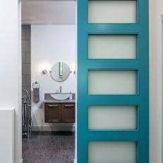 Image result for barn door bright blue glass panels