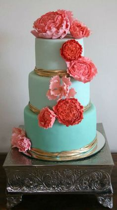 Turquoise, Gold, and Coral Wedding Cake
