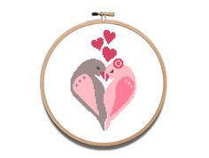 Items similar to Heart Cross Stitch Pattern Birds Love Animal Flower Printable PDF pattern Valentin's DAy Gift Wedding gift Modern Easy on Etsy Cross Stitch Heart, Cute Cross Stitch, Cross Stitch Patterns, Bird Tree, Birthday Diy, Gift Wedding, Valentines, Holidays, Embroidery