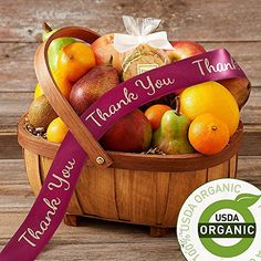 Shari's Berries - Organic Living Fruit Basket with Thank You Ribbon