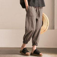 Lattice Cotton Casual Capri-pants