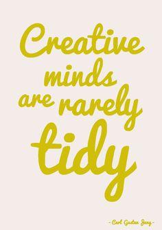 """Quote postkaart Creative minds are rarely tidy  Quote postkaart """"Creative minds are rarely tidy"""" van Studio Inktvis.Geweldige tijdloze quote vanCarl Gustav Jung. [ssba]..."""