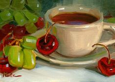 """""""Fruit Tea"""" - Original Fine Art for Sale - © Elena Katsyura"""