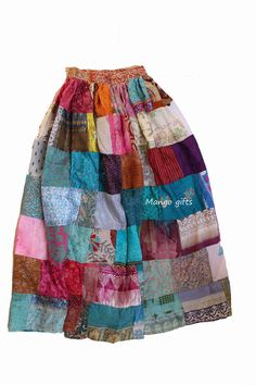 Indian Silk Blend Sari Patchwork Long Skirts Boho for Women Dress Clothes #Unbranded #FullSkirt