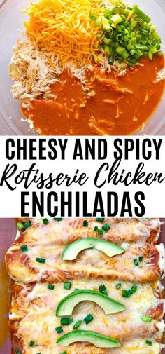 Spicy Chicken and Cheese Enchiladas made easy with a rotisserie chicken! This easy meal is perfect for any busy week night or weekend! Rotisserie Chicken Enchiladas, Cheesy Chicken Enchiladas, Cheese Enchiladas, Meals With Rotisserie Chicken, Spicy Recipes, Mexican Food Recipes, Chicken Recipes, Healthy Recipes, Mexican Dishes