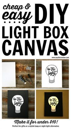 DIY: Easy Canvas Light Box Tutorial (Made for Under $10!) | Idea