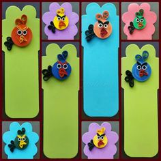 Paper Quilling Angry Birds Bookmarks on foam sticks.