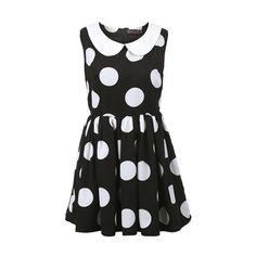 Block Dots Peter Pan Collar Dress (2.775 RUB) found on Polyvore featuring women's fashion, dresses, vestidos, block print dresses, shift dress, layered dress, print shift dress and pattern dress