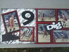 """Volleyball.... Can you Dig it?  Used Circuit Cartridge """"All Sports for the Dig title and the net on right corner"""" not finished with the journaling, but here it is.  # Volleyball; # Scrapbook Layout; # Cricut"""