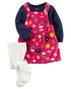 Baby Girl 3-Piece Tee & Jumper Set from Carters.com. Shop clothing & accessories from a trusted name in kids, toddlers, and baby clothes.