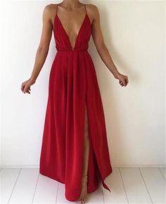 fb0ab288d65 New arrival split. Red ChiffonChiffon DressRed Formal Dresses LongBackless  ...