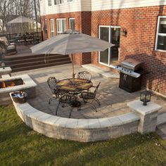 pavers and square fire pit