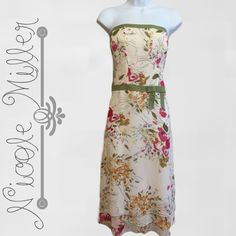 Nicole Miller Nicole Miller silk floral dress. Strapless. Back zipper. Nicole Miller Dresses Strapless