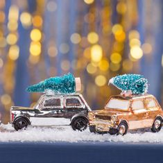 Mini car with Christmas tree decorations