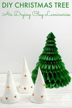 Tutorial and template for beautiful DIY Christmas Tree Luminaries. Learn how to make these festive tea light lanterns with air drying clay.