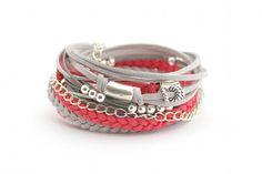 Wrap Bracelet, Coral Gray Silver Bracelet, Boho bracelet, suede, double wrap, boho chic on Etsy, $26.50