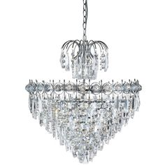 Found it at Wayfair.co.uk - Catherine 7 Light Crystal Chandelier. Have viewed at showroom, a good quality fitting. Would work in a hallway.